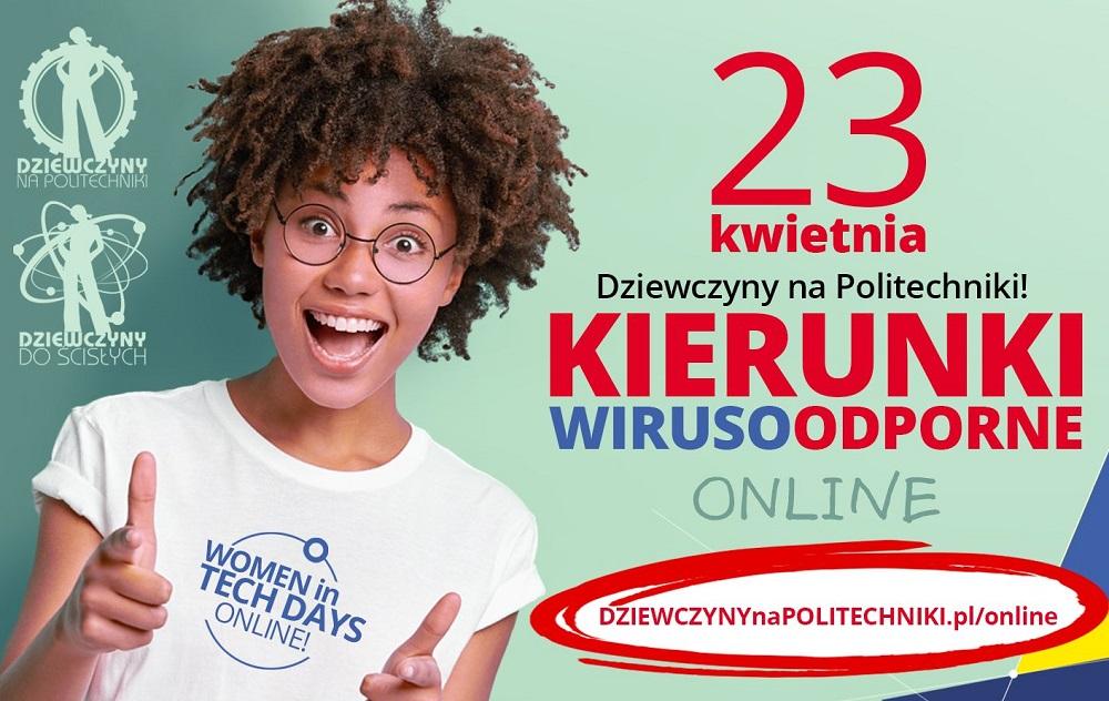 baner reklamowy wydarzenia 23 kwietnia pod nazwą Dziewczyny na Politechniki - Kierunki Wirusoodporne