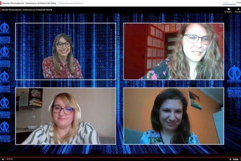 """Obraz z ekranu wydarzenia online """"Kierunki wirusopodobne"""" Na ekranie 4 okienka z rozmówczyniami w trakcie połączenia online"""