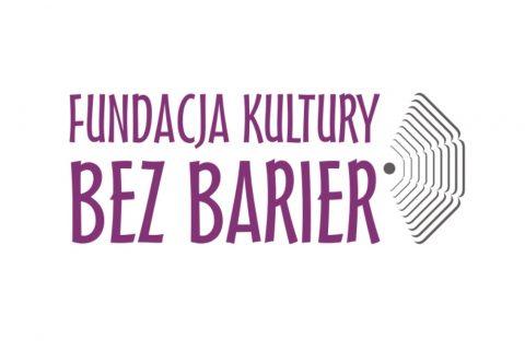 Na białym tle fioletowe litety logotypu: Fundacja Kultury Bez Barier