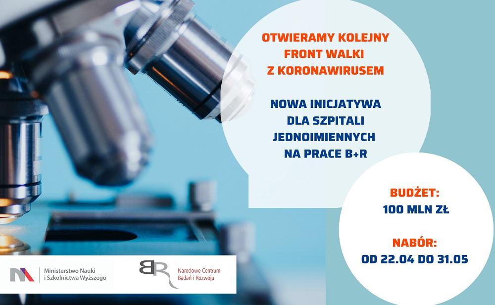 grafika promocyjna konkursu NCBR pt. Wsparcie szpitali jednoimiennych w walce z rozprzestrzenianiem się zakażenia wirusem SARS-CoV-2 oraz w leczeniu COVID-19