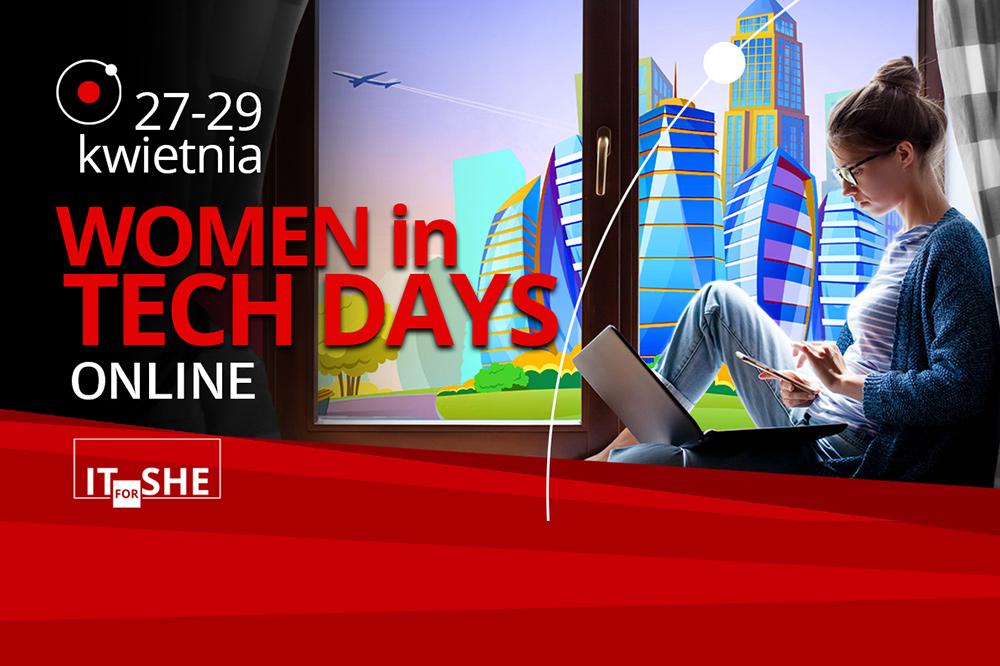 zdjęcie z dziewczyna przy komputerze. Napisy: 27-29 kwietnia Women in Tech Days Online