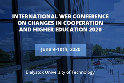grafika informująca o International Web Conference on Changes in Cooperation and Higher Education 2020 w dniach 9-10.06.2020