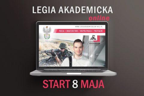 Grafika informująca o starcie 8 maja szkolenia online w ramach Legii Akademickiej