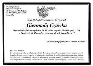 nekrolog prof. Giennadij Czawka_informacje nt pogrzebu