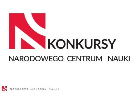 na białym tle czerwone logo NCN i czarne napisy: KONKURSY Narodowego Centrum Nauki