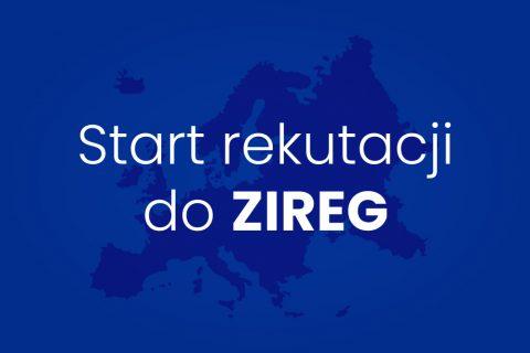 na niebieskim tle biały napis: Start rekrutacji do ZIREG
