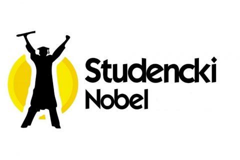 logo konkursu Studencki Nobel - sylwetka studenta w todze unoszącego ręce do góry, w jesnej z nich jest rulon z dyplomem
