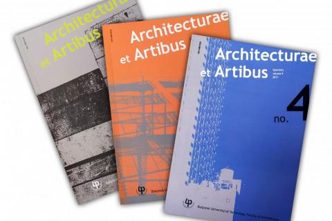 okładki trzech czasopism Architecturae et Artibus ułożone w wachlarz