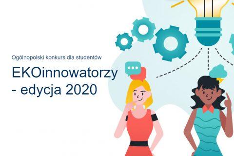 Grafika z blondynką w czerwonej sukience, obok której jest nazwa konkursu: Ekoinnowatorzy, edycja 2020
