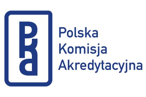 Na białym tle granatowe napisy Polska Komisja Akredytacyjna