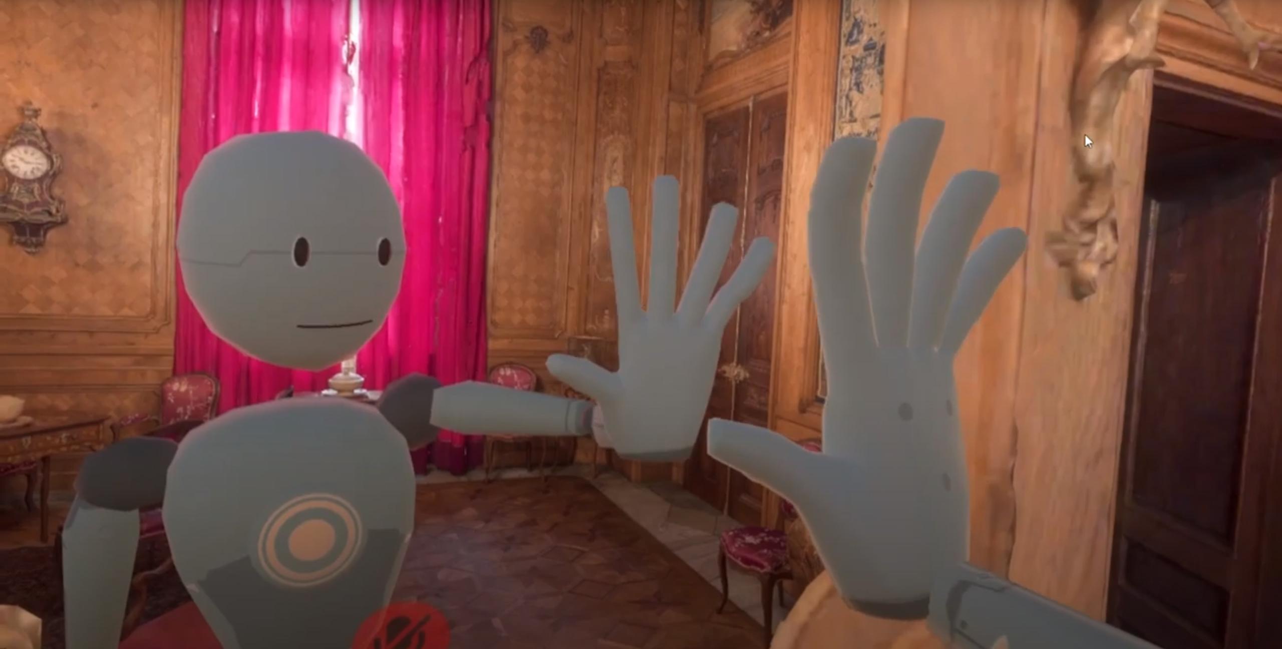 Fragment wirtualnej rzeczywistości. Postać robota dotyka swojego odbicia w lustrze