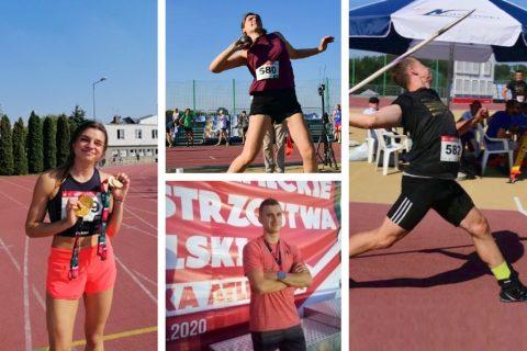 Kolaż czterech fotografii przedstawiających sportowców Klubu Uczelnianego AZS na zawodach lekkoatletycznych