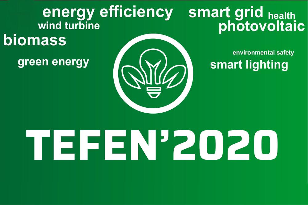 na zielonym tle białe napisy pisane cznionką o różnej wielkości, rozrzucone na obszarze grafiki: TEFEN'2020, energy efficiency, smart grid, photovoltaic, biomass, health, smart lighting, green energy