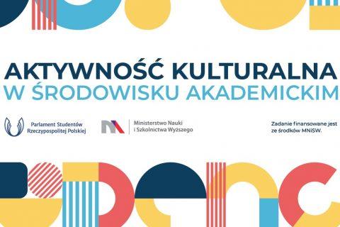 Grafika ilustracyjna do informacji o konkursie PSPR dot. aktywności kulturalnej w środowisku akademickim