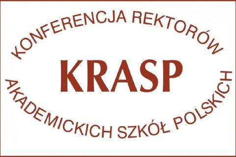 Na białym tle duże litery KRASP w otoku nazwy Konferencja Rektorów Akademickich Szkół Polskich