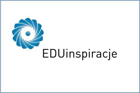 Grafika. Na białym tle niebieski element graficzny logo oraz czarny napis EDUinspiracje