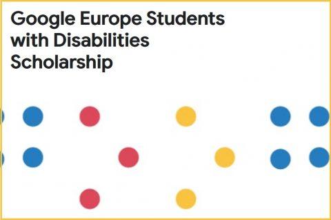 grafika ilustracyjna. Na białym tle kolorowe kropki i czarny napis Google Europe Students with Disabilities Scholarship