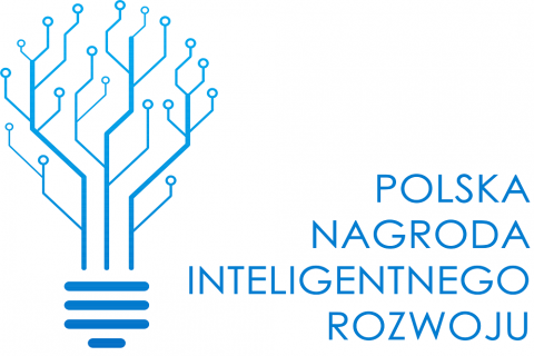 Na białym tle niebieski napis Polska Nagroda Inteligentnego Rozwoju oraz niebieski rysunek układów scalonych w kształcie drzewa/żarówki