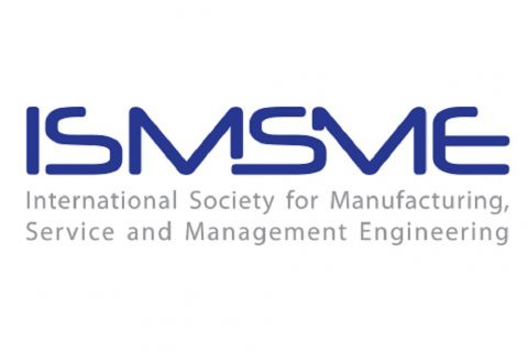 Na białym tle niebieskie litery: ISMSME International Society for Manufacturing, Service and Management Engineering