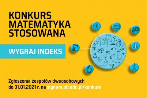 grafika informująca o konkursie Matematyka Stosowana 2020. Wygraj indeks