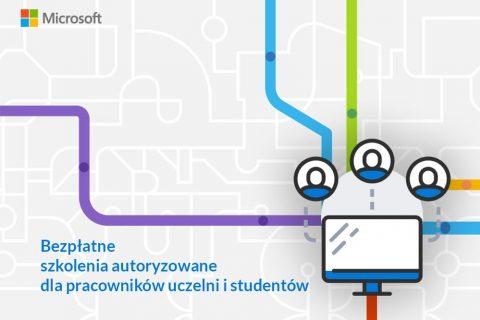 grafika ilustracyjna przedstawiająca schemat połączeń. Tekst: bezpłatne szkolenia autoryzowane dla pracowników uczelni i studentów