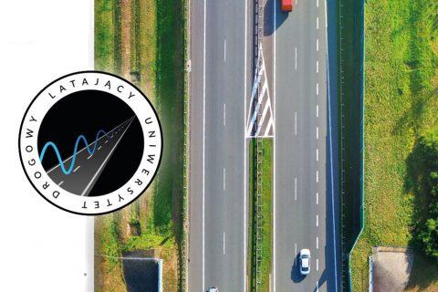 zdjęcie drogi szybkiego ruchu z lotu ptaka i logo Latającego Uniwersytetu Drogowego