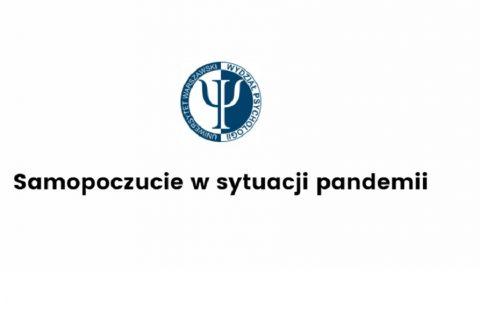 logo Wydziału Psychologii Uniwersytetu Warszawskiego, poniżej napis: Samopoczucie w sytuacji pandemii