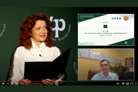 na ekranie transmisji online rektor PB oraz Dariusz Bossowski