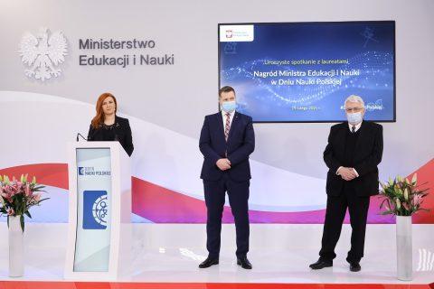 Minister Czarnek podczas spotkania z okazji ogłoszenia nagrod Ministra Edukacji i Nauki w Dniu Nauki Polskiej