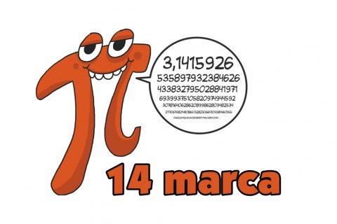 Grafika ilustracyjna. Uśmiechnięta liczba PI z dymkiem, w którym jest rozszerzenie wartości cyfrowej. Poniżej data: 14 marca