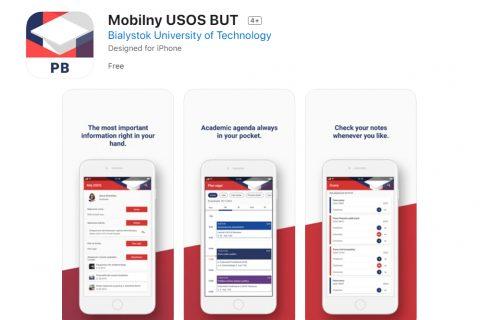 grafika ilustracyjna. Przykładowe ekrany w aplikacji Mobilny USOS BUT