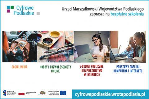grafika zachęcająca do udziału w bezpłatnych szkoleniach z projektu Urzędu Marszałkowskiego: Cyfrowe Podlaskie