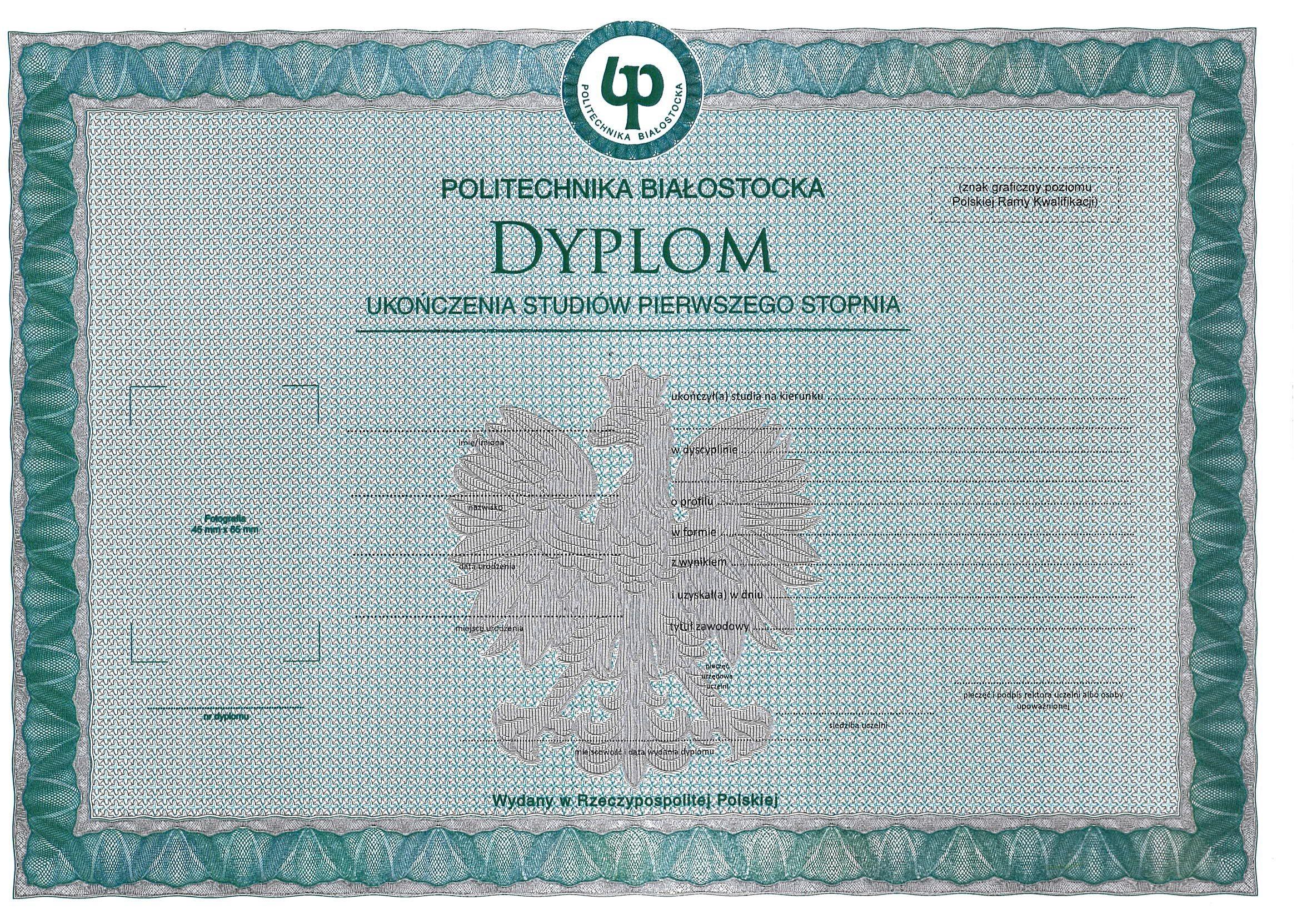 wzór dyplomu ukończenia studiów pierwszego stopnia