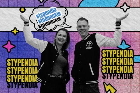 studentka i student w otoczeniu zwielokrotnionych napisów graficznych stypendia studenckie