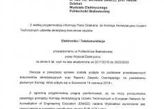 Decyzja o przyznaniu certyfikatu EUR-ACE dla kierunku elektronika i telekomunikacja
