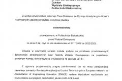 Decyzja o przyznaniu certyfikatu EUR-ACE dla kierunku elektrotechnika