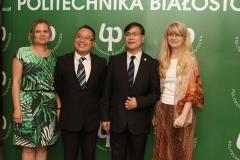 Delegacja Ningbo Institute of Technology na PB, dr Katarzyna Kuźmicz, prof. Hao Wang, prof. Weilang Jin, Krystyna Murawska-Sitko