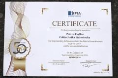 Dyplom International Federation of Inventors' Associations IFIA za wybitne osiągnięcia w dziedzinie wynalazczości  latach 2016/2017 na arenie międzynarodowej