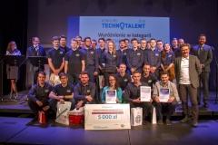"""Gala Konkursu Technotalent 2018 - Technotalent PB - zwyciężczyni Ewelina Brzozowska (""""Crowler – pełzak rehabilitacyjny"""") i wyróżnieni: Jan Godlewski (""""Wstawacz"""") i Cerber Motorsport"""