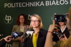 Politechnika Białostocka przystąpiła do konsorcjum UNIVERS. Prorektor Joanna Ejdys podczas konferencji prasowej 6 lutego 2020 r.