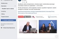 Transmisja online rozmowy ministra Gowina z przedstawicielami Parlamentu Studentów RP odbyła się 23 marca 2020 r.
