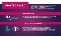 Plansza informacyjna projektu Protect Med: finansowanie, członkowie konsorcjum