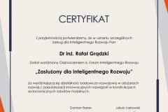 Certyfikat Nagrody Inteligentnego Rozwoju dla dr. inż. R.-Gradzkiego. 2021 r.