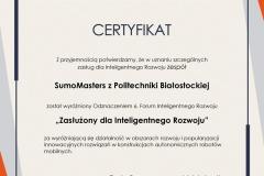 Certyfikat Nagrody Inteligentnego Rozwoju dla SumoMasters. 2021 r.