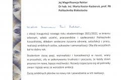 List gratulacyjny od JM Rektor Politechniki Koszalińskiej