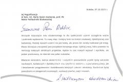 List gratulacyjny od JM Rektora Akademii Górniczo-Hutniczej w Krakowie
