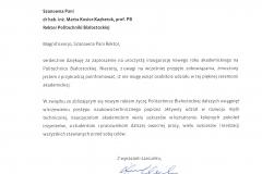 List gratulacyjny od JM Rektora Politechniki Gdańskiej