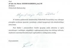 List gratulacyjny od JM Rektora Politechniki Poznańskiej