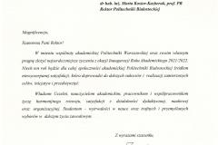 List gratulacyjny od JM Rektora Politechniki Warszawskiej