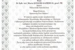 List gratulacyjny od JM Rektora Uniwersytetu Warmińsko-Mazurskiego w Olsztynie